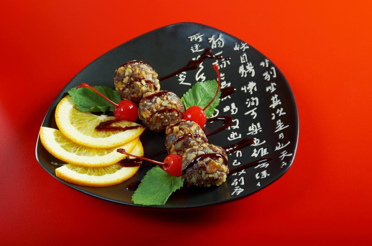 Tradisjonell japansk dessert med frukt.