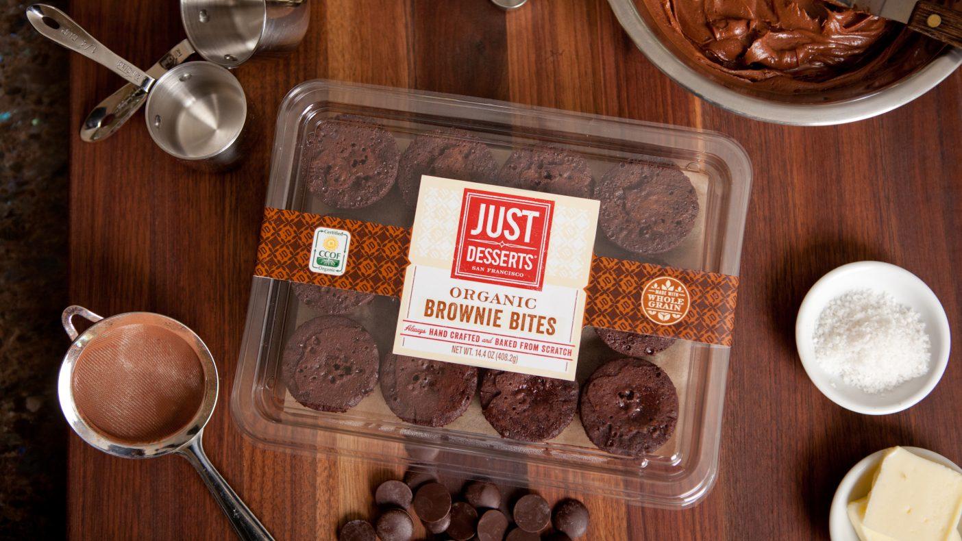 Mindre og sunnere: Det San Fransisco-baserte bakeriet Just Desserts selger små organiske fullkorns-browniebiter.