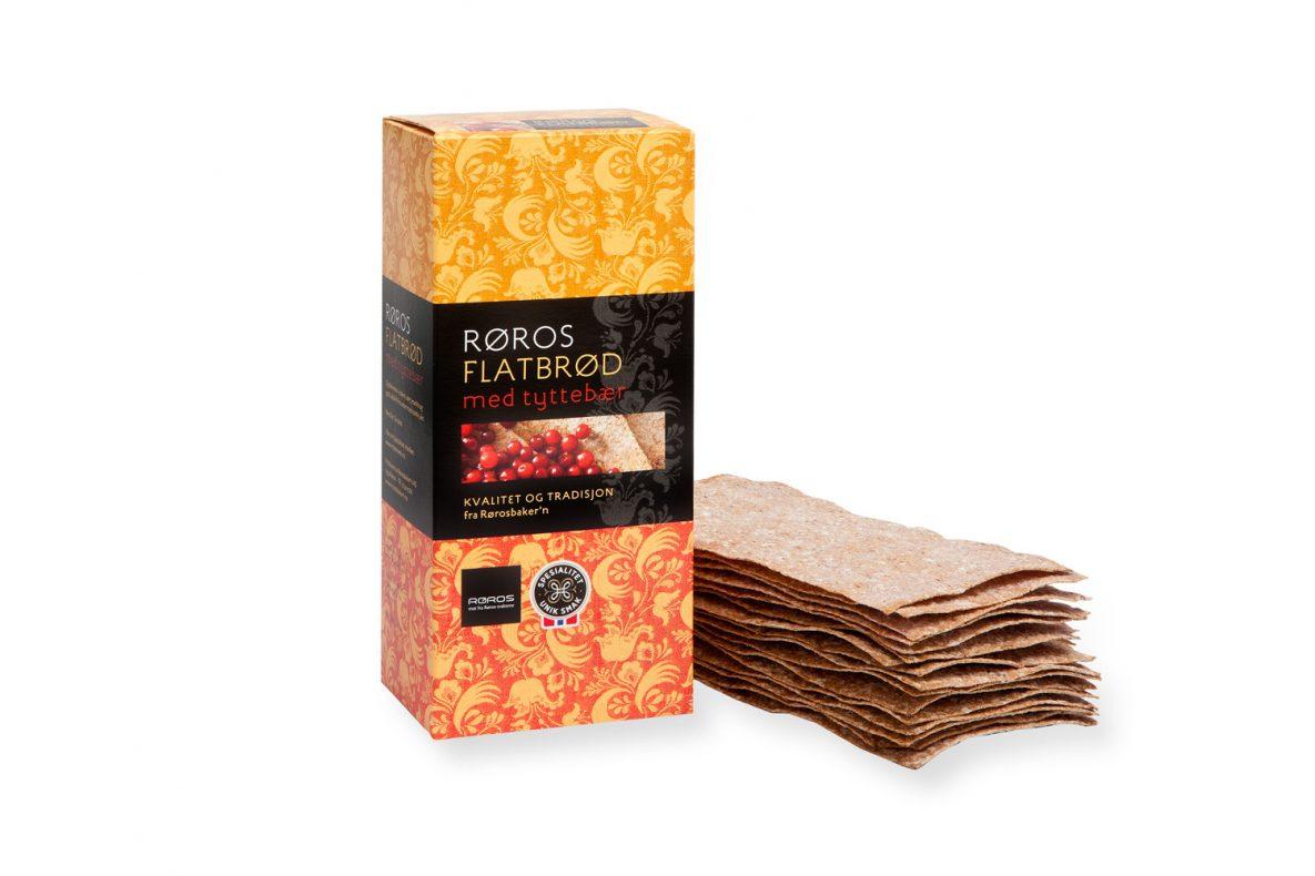 Til Berlin: Røros Flatbrød med Tyttebær er et av produktene som vil presenteres i Den Norske Paviljong på Grüne Woche 2018.