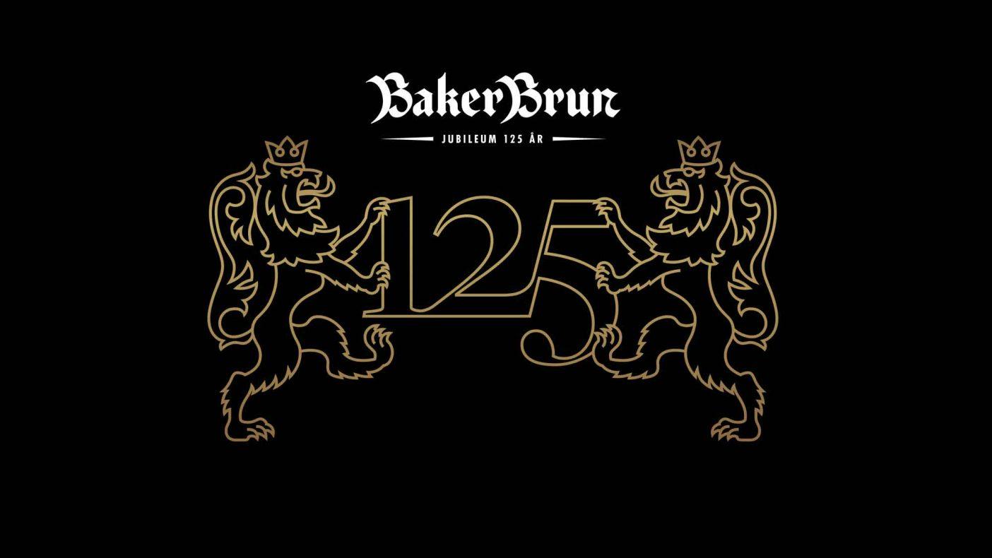 Baker Bruns jubileumslogo brukes aktivt gjennom året.