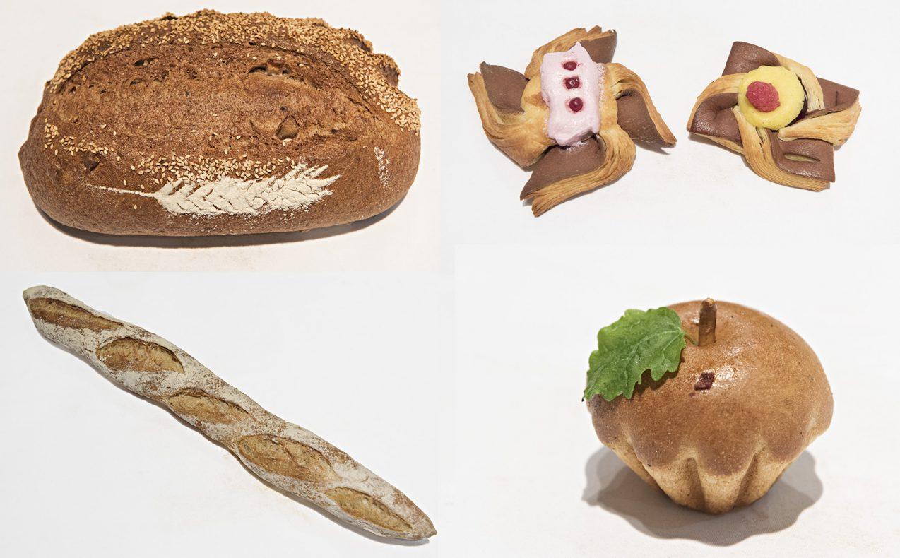 Noen av Cathrines produkter; oppe til venstre: Eple og hasselnøttbrød, wienerbrød med trollkrem og vaniljekrem, baguette med surdeig og «bolle» med eplefyll.