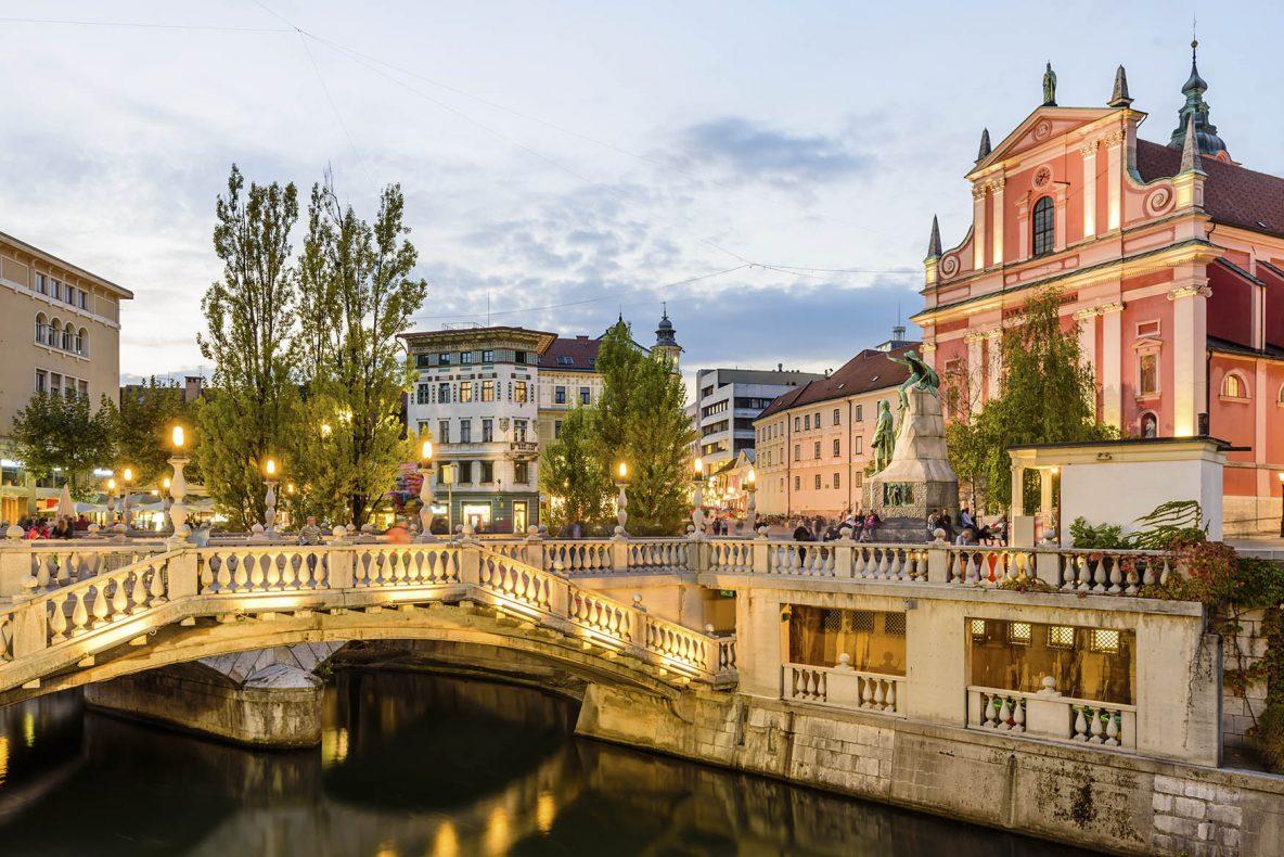 Fra sentrum av Ljubljana, hovedstaden i Slovenia.