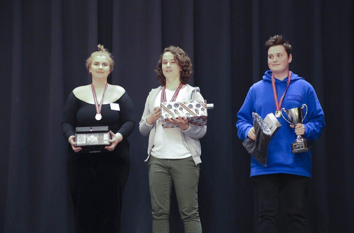 Bakerne som havnet på pallen: 1. plass Henrik Foss (til høyre), 2. plass Bernt Haugen Gilberg (i midten) og Cas Øien Iversen (til venstre)