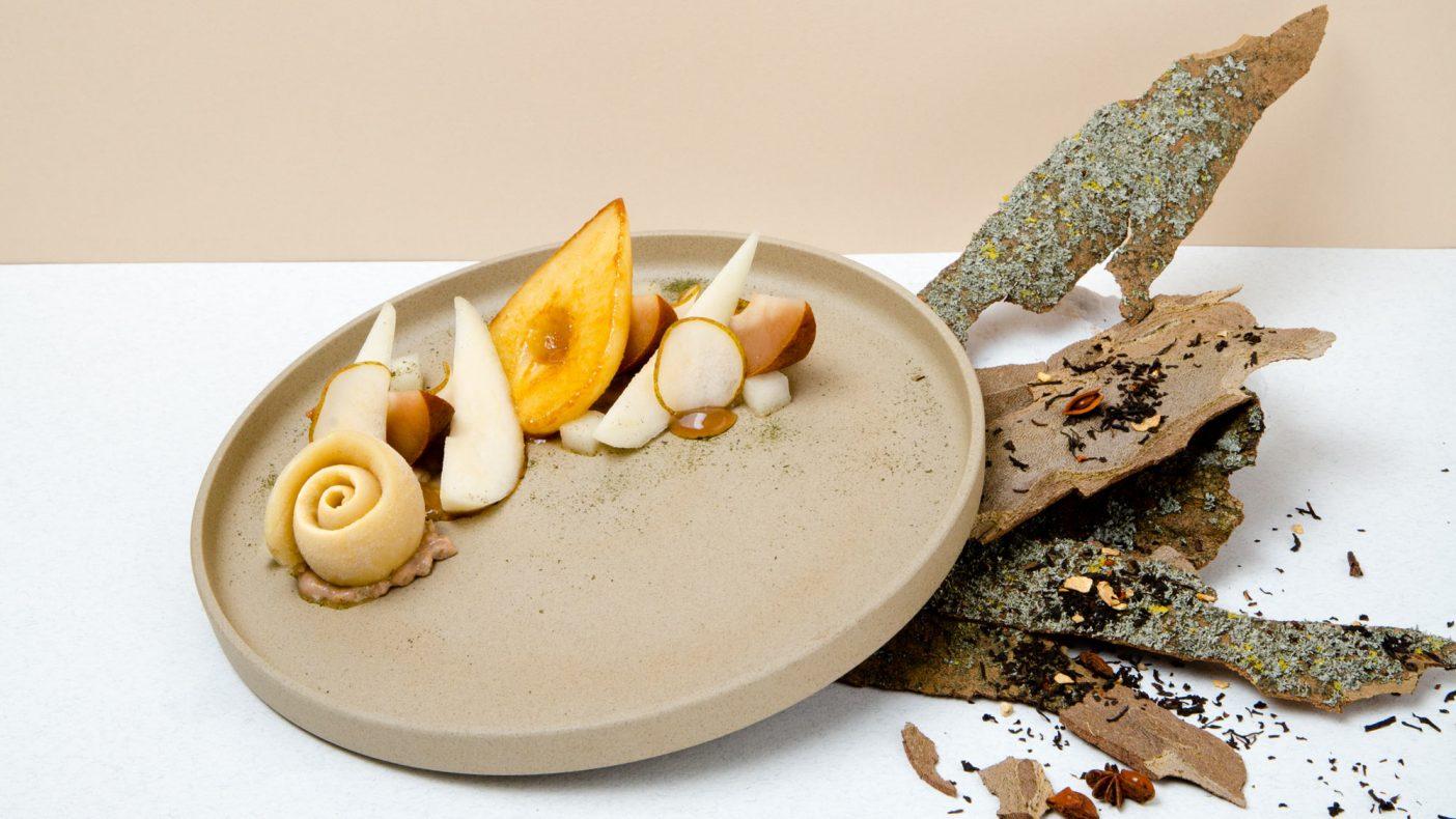 En Préalpato-dessert med smak av pære og te. Foto: © virginie garnier