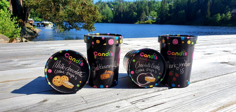 To cookie dough-varianter med deig fra Millba er blant de fire smakene som Candis selger i dagligvarebutikkene.